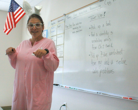 Photo by Kirsten Morales Ms. Slavnic hopped around in her pink suit Wednesday.