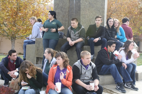 Photo by The Catalyst Biomed students hang out on UNM campus after their visit to the cadaver labs.