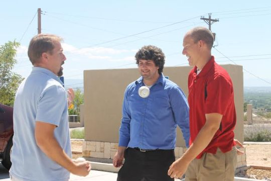 Photo By Hannah Worker -- Project Managers Colin DeGroot, Brennan Divett, and Andy Hostetler spent their lunch juggling t-balls in front of the building today.