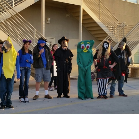 Freaky Friday - Costumed scholars greeted arriving cars this morning.