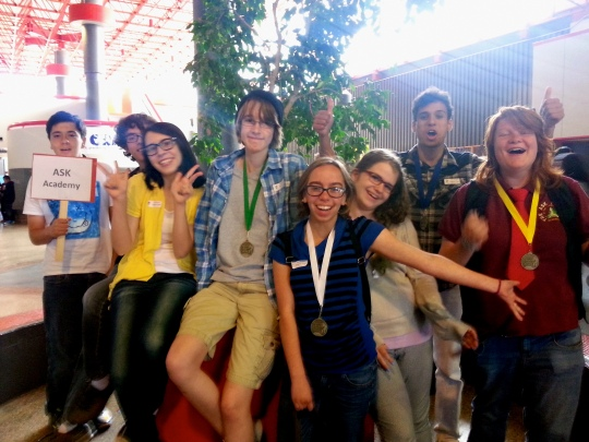 Photos courtesy of Michelle Peterson --The first-ever ASK Academy English Expo Team, from left: Quinton Valencia, Sal Mangiacapra, Rylee Felzien, Ryan Medina, Gabi Orr, Jordan Hines, Johanna Poirier.