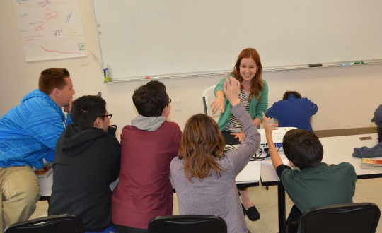 Photo by Page Fairchild Project Manager Michelle Peterson calls on scholars in her sixth period English class. She was chosen as The Catalyst's first ever Manager of the Month.