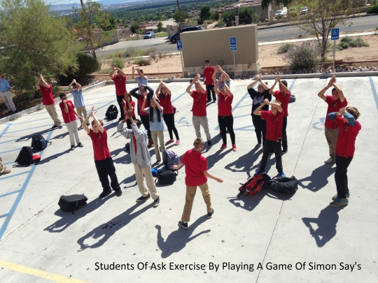 Photo by Gabriel Vialpando ASK 8th graders play a game of Simon Says