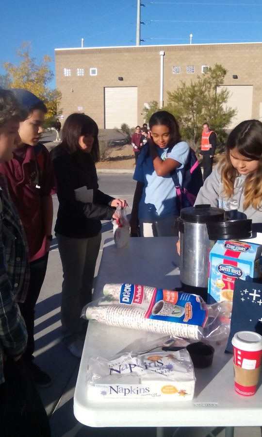Photo by Milee Smith Middle school Scholars sell hot chocolate to raise money for art supplies.