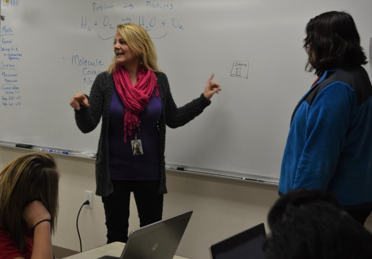 Ms. Pink, February's Manager of the Month, teaches her biomedical class