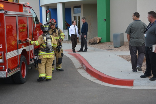 Photo By Jenifer Guzman The Rio Rancho Fire Department came to campus as a precautionary measure yesterday during seventh period, after a lithium battery pack exploded in the robotics storage closet.