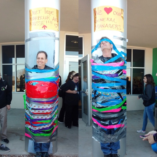 Mr. Busse and Mr. Barbour volunteered to be taped to the wall for an ASK fundraiser. Mr. Barbour could be heard talking smack to everyone -- until Tony donated $50 and let the whole crowd tape him up.